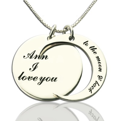 Personalised I Love You to the Moon and Back Love Necklace Sterling Silver - AMAZINGNECKLACE.COM