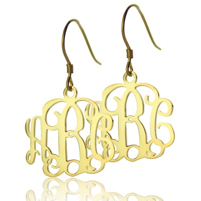 18ct Gold Plated Monogram Personalised Earrings - AMAZINGNECKLACE.COM