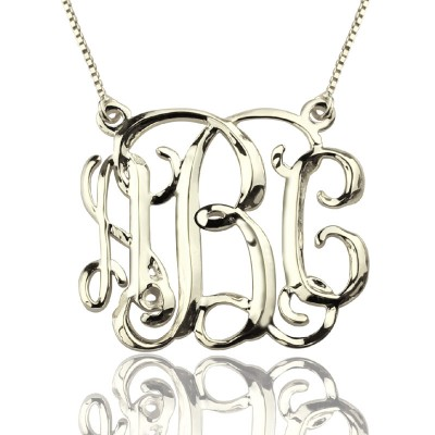 Personalised Cube Monogram Initials Necklace Sterling Silver - AMAZINGNECKLACE.COM