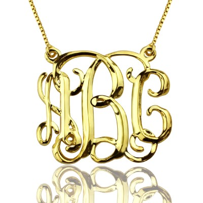 Custom Cube Monogram Initials Personalised Necklace 18ct Gold Plated - AMAZINGNECKLACE.COM