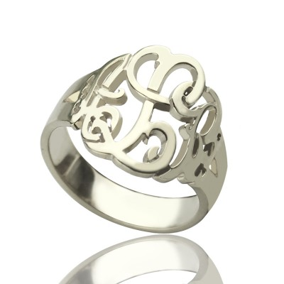 Personalised Hand Drawing Monogrammed Ring Silver - AMAZINGNECKLACE.COM