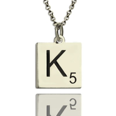 Scrabble Initial Letter Personalised Necklace Sterling Silver - AMAZINGNECKLACE.COM