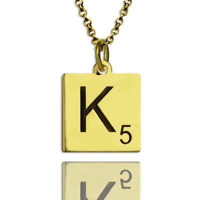 Engraved Scrabble Initial Letter Personalised Necklace 18ct Gold Plated - AMAZINGNECKLACE.COM