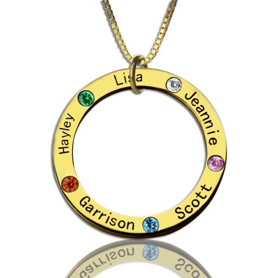 Family Circle Names Personalised Necklace For Mother In Gold - AMAZINGNECKLACE.COM