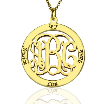 Family Monogram Name Personalised Necklace In 18ct Gold Plated - AMAZINGNECKLACE.COM