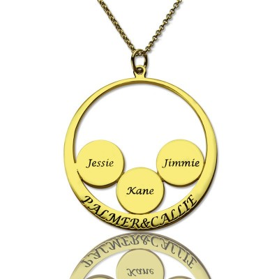 Mothers Family Name Pendant In Gold - AMAZINGNECKLACE.COM