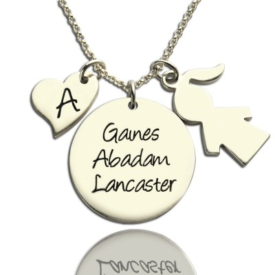 Mother Personalised Necklace Gift With Kids Name Charm Sterling Silver - AMAZINGNECKLACE.COM