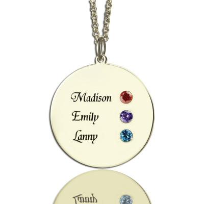 Grandma's Disc Birthstone Personalised Necklace  - AMAZINGNECKLACE.COM