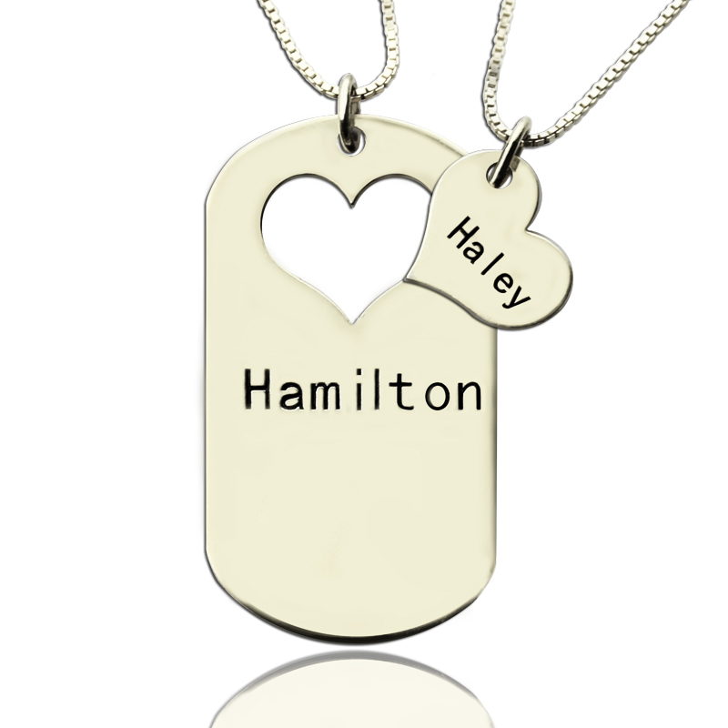 couples name dog tag personalised necklace set with cut out heart