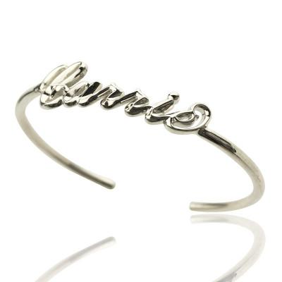 Personalised Sterling Silver Name Bangle Bracelet - AMAZINGNECKLACE.COM