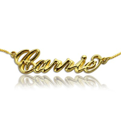 Personalised 3D Carrie Name Necklace 18ct Gold Plating - AMAZINGNECKLACE.COM