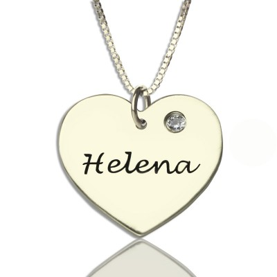 Sterling Silver Simple Heart Name Personalised Necklace with Birthstone  - AMAZINGNECKLACE.COM