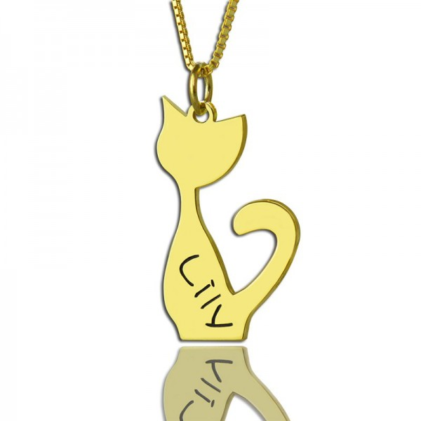 Custom Cat Name Pendant Personalised Necklace 18ct Gold Plated Over - AMAZINGNECKLACE.COM