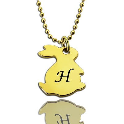 Tiny Rabbit Initial Charm Personalised Necklace 18ct Gold Plated - AMAZINGNECKLACE.COM