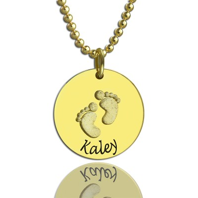 Personalised Baby Footprints Name Necklace 18ct Gold Plated - AMAZINGNECKLACE.COM