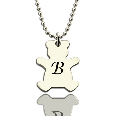 Personalised Teddy Bear Initial Necklace Sterling Silver - AMAZINGNECKLACE.COM