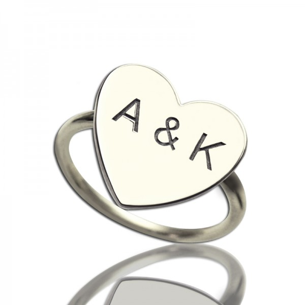 Engraved Sweetheart Personalised Ring with Double Initials Sterling Silver - AMAZINGNECKLACE.COM