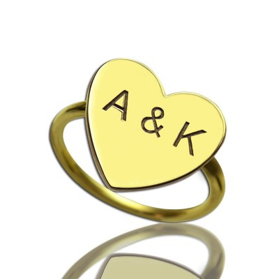 Engraved Sweetheart Personalised Ring with Double Initials 18ct Gold Plated - AMAZINGNECKLACE.COM