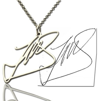 Custom Personalised Necklace with Your Own Signature Silver - AMAZINGNECKLACE.COM