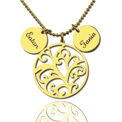 Family Tree Personalised Necklace With Name Charm For Mom - AMAZINGNECKLACE.COM