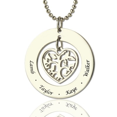 Personalised Heart Family Tree Necklace Sterling Silver - AMAZINGNECKLACE.COM