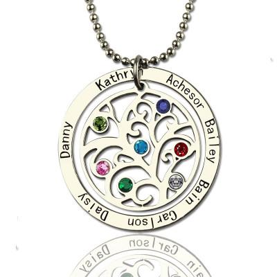 Personalised Family Tree Birthstone Name Necklace  - AMAZINGNECKLACE.COM