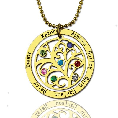 Family Tree Birthstone Personalised Necklace In 18ct Gold Plated  - AMAZINGNECKLACE.COM