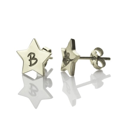 Personalised Star Stud Initial Earrings In Silver - AMAZINGNECKLACE.COM