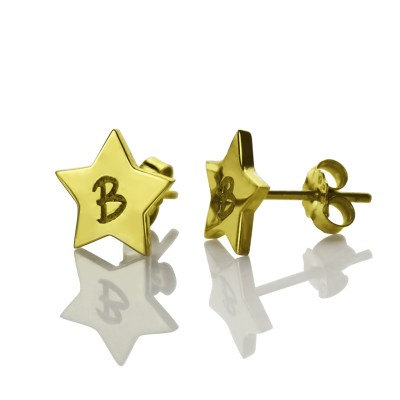 Star Stud Initial Personalised Earrings In Gold - AMAZINGNECKLACE.COM