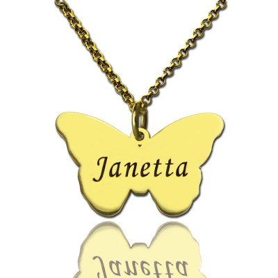 Custom Charming Butterfly Pendant Emgraved Name 18ct Gold Plated - AMAZINGNECKLACE.COM