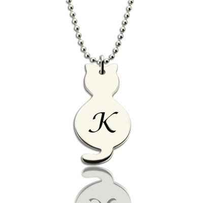 Personalised Tiny Cat Initial Pendant Necklace Silver - AMAZINGNECKLACE.COM