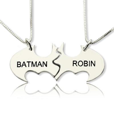 Batman Best Friend Name Personalised Necklace Sterling Silver - AMAZINGNECKLACE.COM