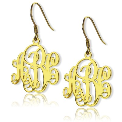 Script Monogram Initial Personalised Earrings 18ct Gold Plated - AMAZINGNECKLACE.COM