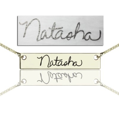 Custom Personalised Necklace With Your Signature Bar Silver - AMAZINGNECKLACE.COM