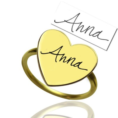 Gold Heart Signet Personalised Ring With Your Signature - AMAZINGNECKLACE.COM