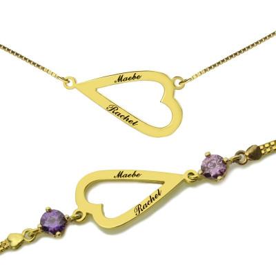 Open Heart Love Personalised Necklace  Bracelet Engraved Name - AMAZINGNECKLACE.COM