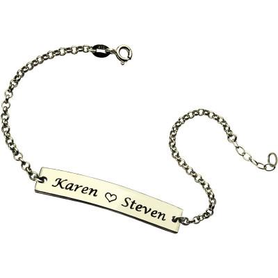 Engraved Name Bar Personalised Bracelet For Her Sterling Silver - AMAZINGNECKLACE.COM