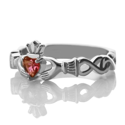 Ladies Claddagh Personalised Rings With Birthstone  Name White Gold Plated Silver  - AMAZINGNECKLACE.COM