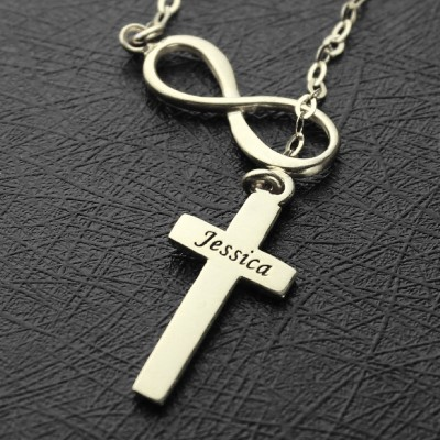 Infinity Cross Name Personalised Necklace Sterling Silver - AMAZINGNECKLACE.COM