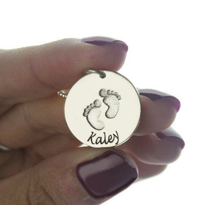 Memory Baby Footprints Name Personalised Necklace Sterling Silver - AMAZINGNECKLACE.COM