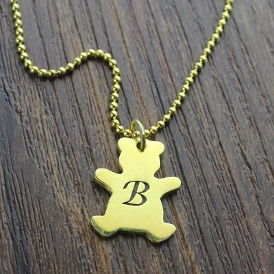 Cute Teddy Bear Initial Charm Personalised Necklace 18ct Gold Plated - AMAZINGNECKLACE.COM