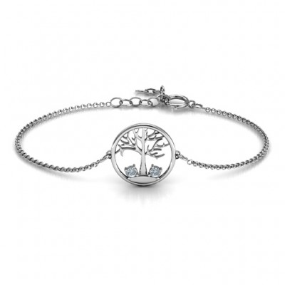 Personalised 1 - 4 Stone Family Tree Bracelet  - AMAZINGNECKLACE.COM