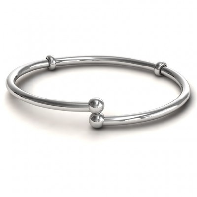 Personalised Silver Flex Bangle Charm Bracelet - AMAZINGNECKLACE.COM
