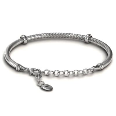 Personalised Silver Snake Bracelet with 1.5  Extender - AMAZINGNECKLACE.COM