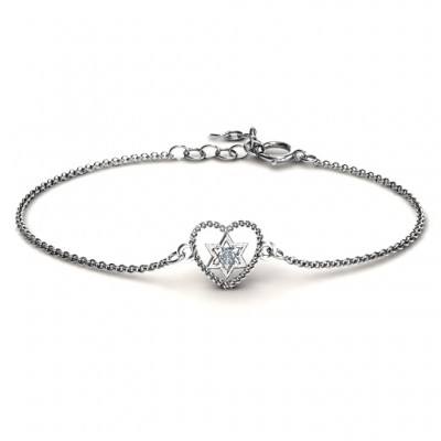 Personalised Chained Heart with Star of David Bracelet - AMAZINGNECKLACE.COM