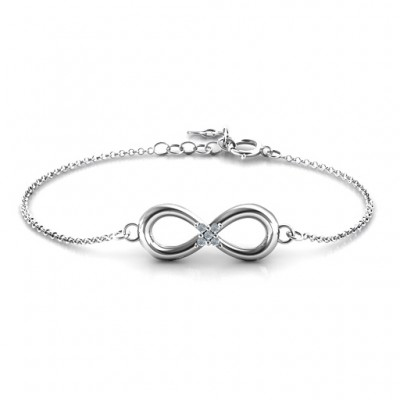 Personalised Classic Infinity With Centre Accents Bracelet - AMAZINGNECKLACE.COM