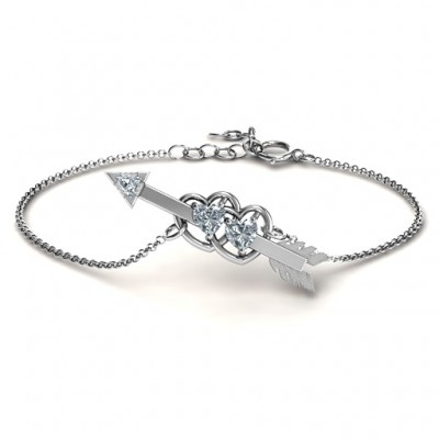 Double Heart with Arrow and Two Heart Stones Promise Personalised Bracelet  - AMAZINGNECKLACE.COM