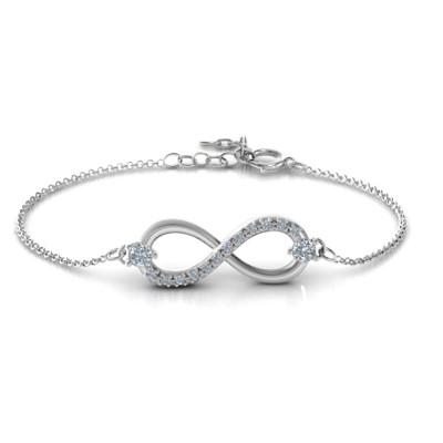 Personalised Double Stone Infinity Accent Bracelet  - AMAZINGNECKLACE.COM