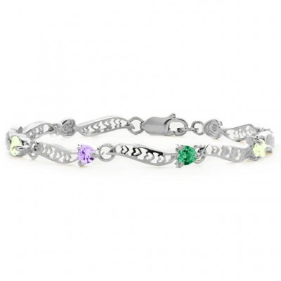 Personalised Embedded Hearts 1-8 Stones Bracelet  - AMAZINGNECKLACE.COM