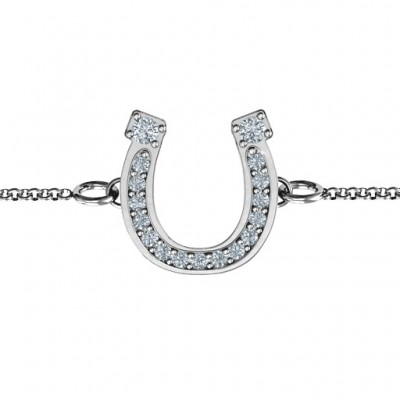 Horseshoe Personalised Bracelet with Two Stones and Accents  - AMAZINGNECKLACE.COM